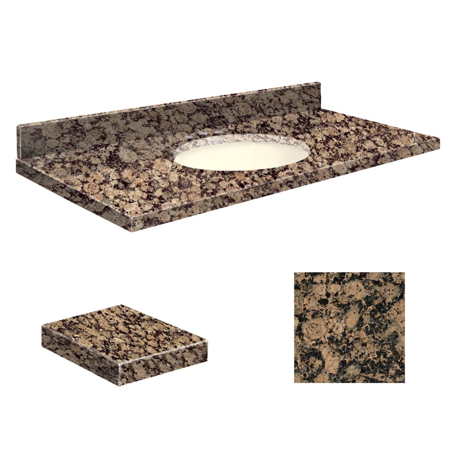 Transolid Baltic Brown Granite Undermount Single Sink Bathroom Vanity Top (Common: 49-in x 19-in; Actual: 49-in x 19.25-in)