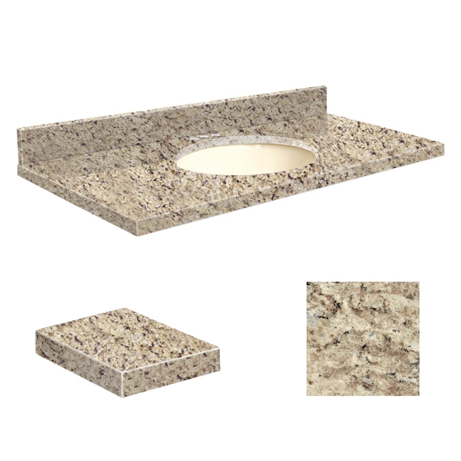 Transolid Giallo Ornamental Granite Undermount Single Sink Bathroom Vanity Top (Common: 49-in x 19-in; Actual: 49-in x 19.25-in)