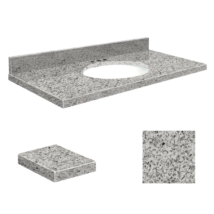Transolid Rosselin White Granite Undermount Single Sink Bathroom Vanity Top (Common: 49-in x 19-in; Actual: 49-in x 19.2500-in)