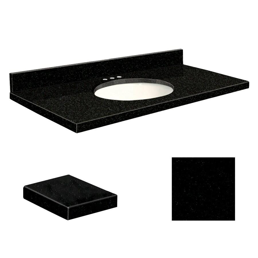 Transolid Absolute Black  Granite Undermount Single Sink Bathroom Vanity Top (Common: 49-in x 19-in; Actual: 49-in x 19.25-in)