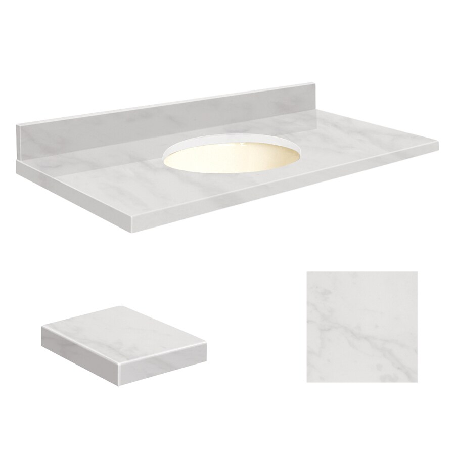 Transolid Vanity Top Natural Marble 49x19 W Single Undermount Bowl No Hole White Marble In The Bathroom Vanity Tops Department At Lowes Com