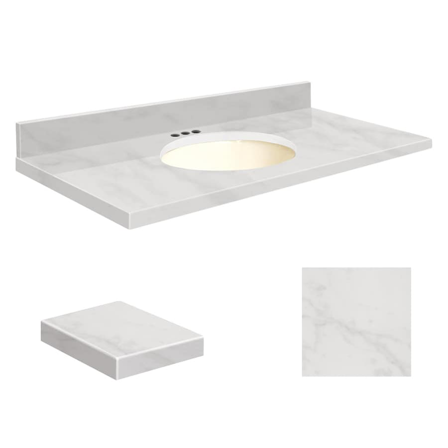 Transolid White Marble Natural Marble Undermount Single Sink Bathroom Vanity Top (Common: 49-in x 19-in; Actual: 49-in x 19.25-in)