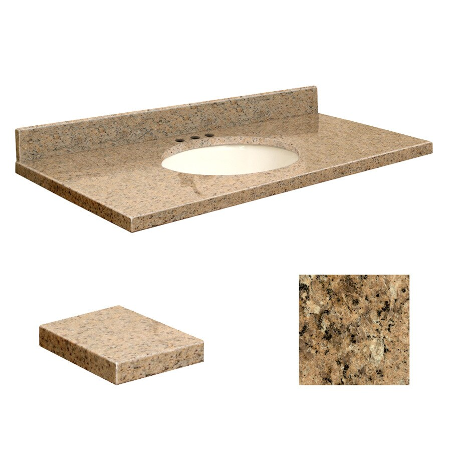 Transolid Giallo Veneziano Granite Undermount Single Sink Bathroom Vanity Top (Common: 49-in x 22-in; Actual: 49-in x 22.25-in)