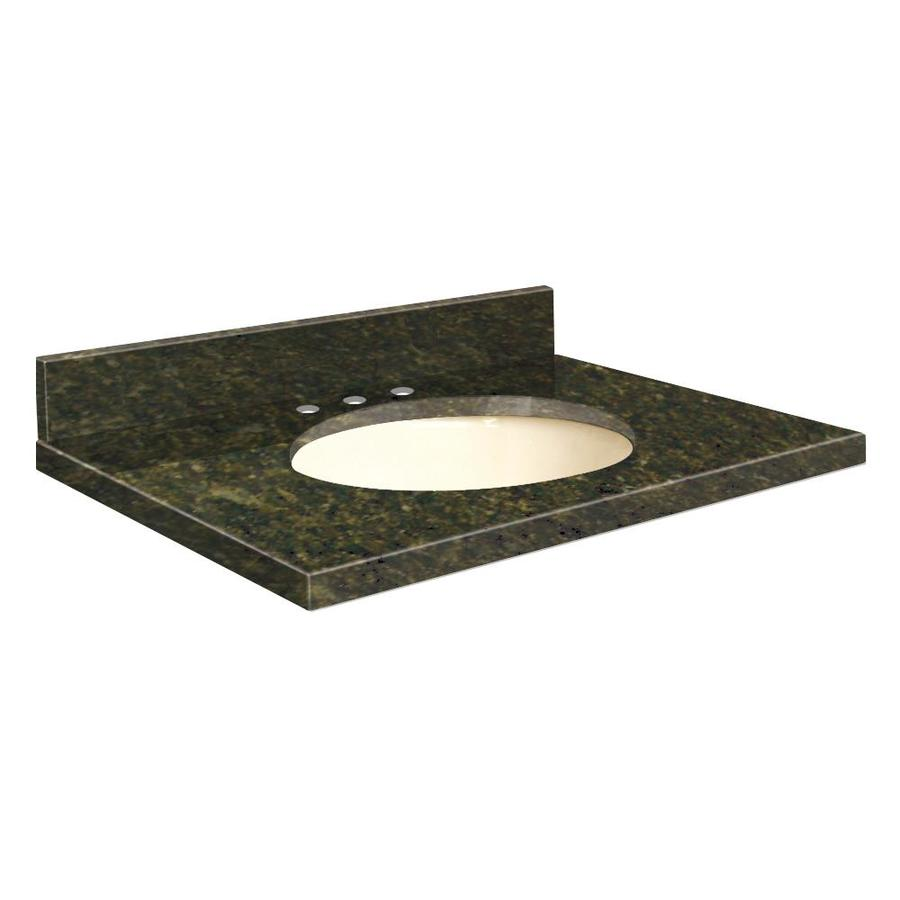 Transolid Uba Verde Granite Undermount Single Sink Bathroom Vanity Top (Common: 49-in x 22-in; Actual: 49-in x 22.25-in)