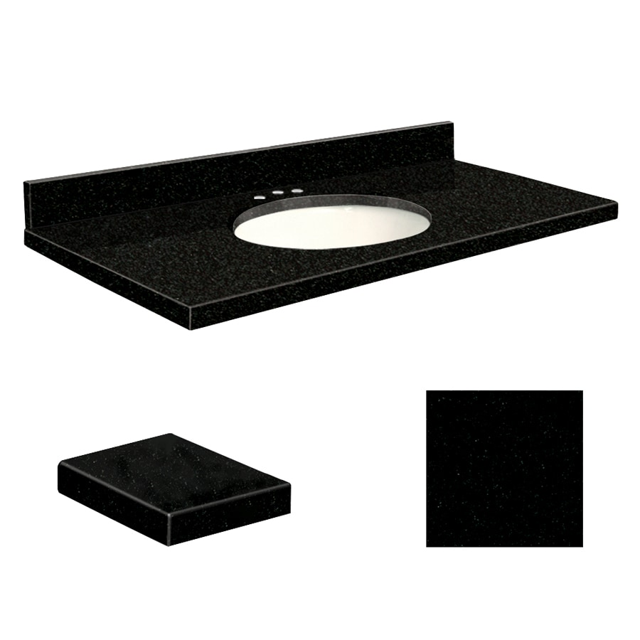 Transolid Absolute Black Granite Undermount Single Sink Bathroom Vanity Top (Common: 49-in x 22-in; Actual: 49-in x 22.25-in)
