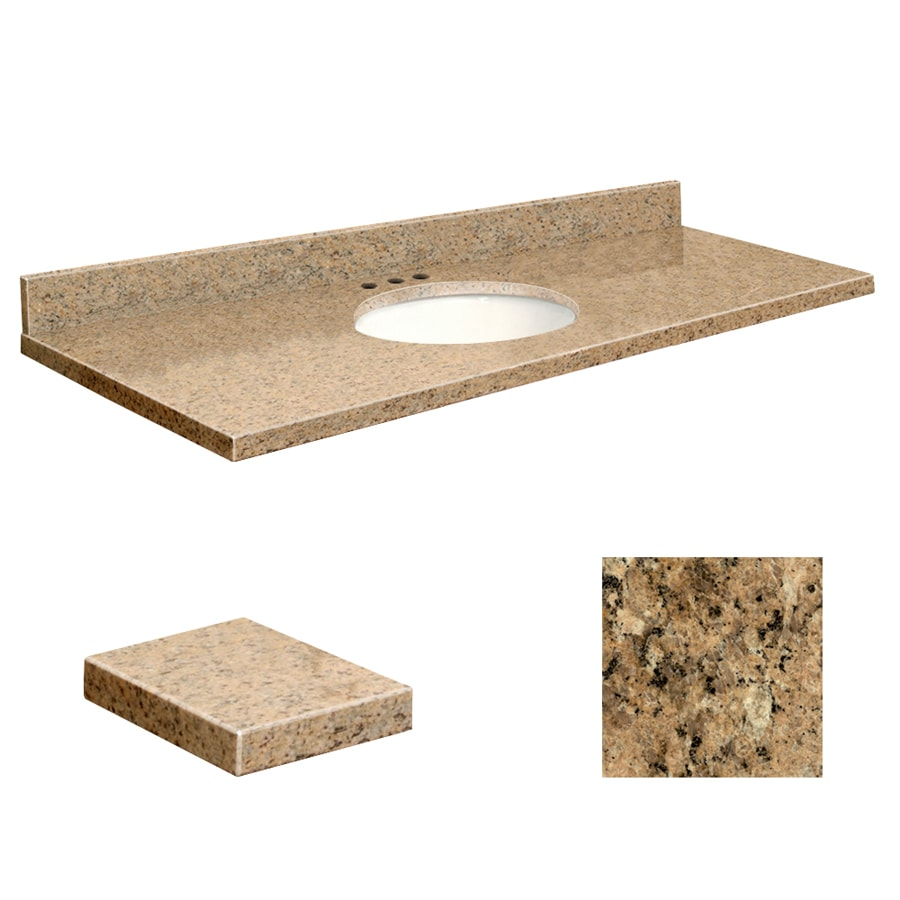 Transolid Giallo Veneziano Granite Undermount Single Sink Bathroom Vanity Top (Common: 61-in x 22-in; Actual: 61-in x 22.2500-in)