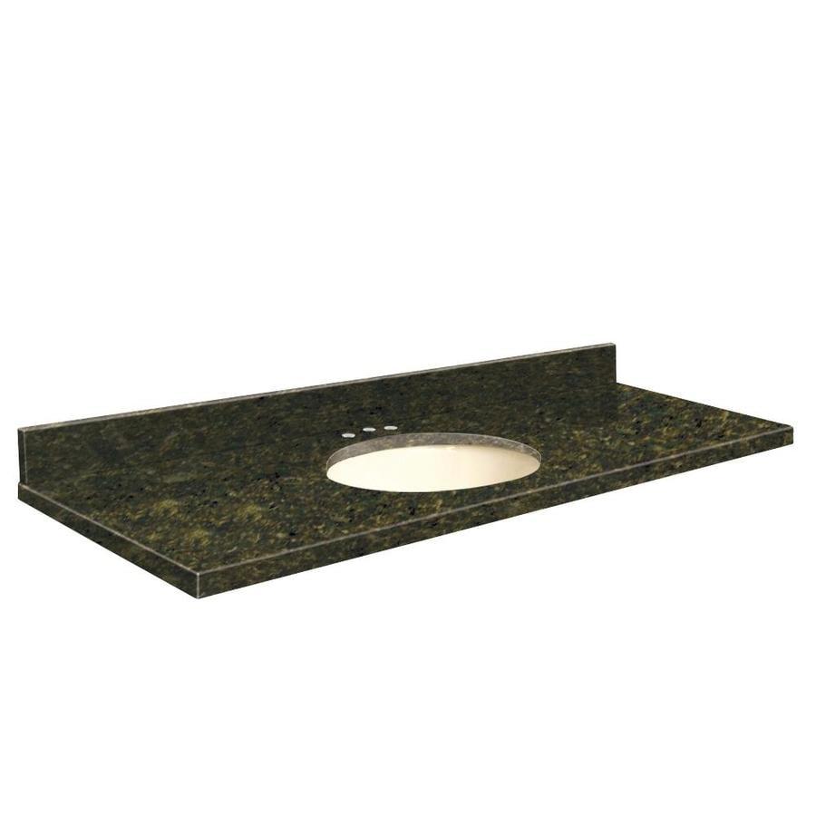 Transolid Uba Verde Granite Undermount Single Sink Bathroom Vanity Top (Common: 61-in x 22-in; Actual: 61-in x 22.25-in)