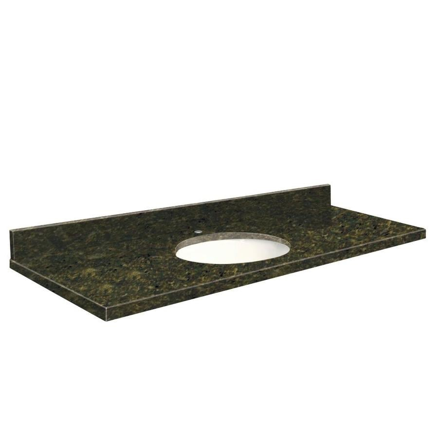 Transolid Uba Verde Granite Undermount Single Sink Bathroom Vanity Top (Common: 61-in x 22-in; Actual: 61-in x 22.25-in)