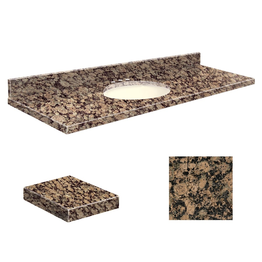 Transolid Baltic Brown Granite Undermount Single Sink Bathroom Vanity Top (Common: 61-in x 22-in; Actual: 61-in x 22.25-in)