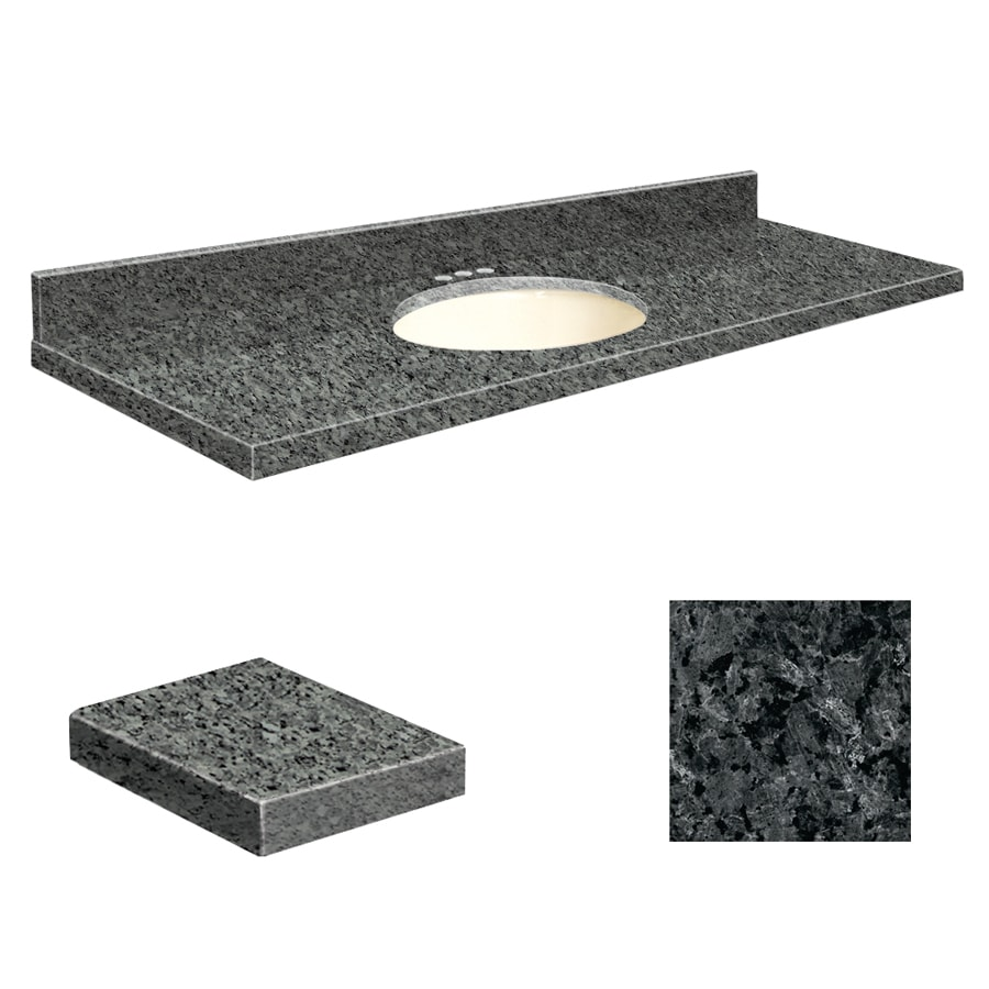 Transolid Blue Pearl Granite Undermount Single Sink Bathroom Vanity Top (Common: 61-in x 22-in; Actual: 61-in x 22.25-in)