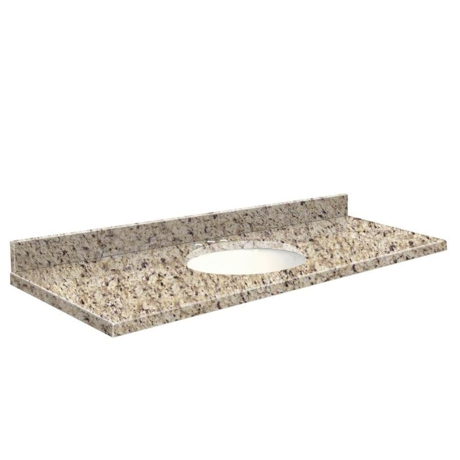 Transolid Giallo Ornamental Granite Undermount Single Sink Bathroom Vanity Top (Common: 61-in x 22-in; Actual: 61-in x 22.25-in)