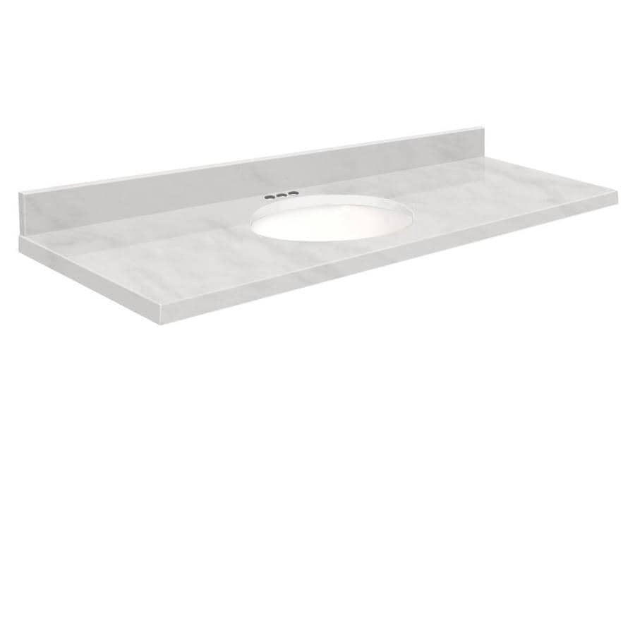 Transolid White Natural Marble Undermount Single Sink Bathroom Vanity Top (Common: 61-in x 22-in; Actual: 61-in x 22.25-in)