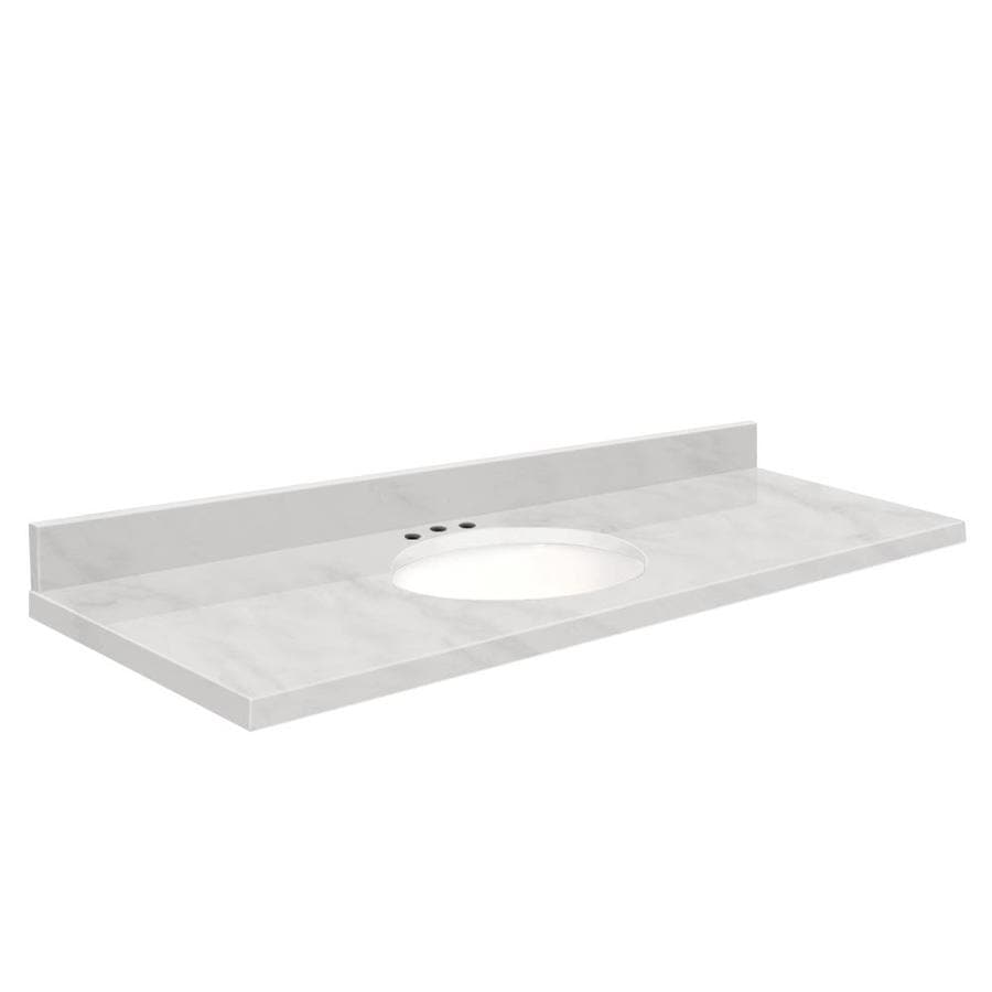 Transolid White Marble Natural Marble Undermount Single Sink Bathroom Vanity Top (Common: 61-in x 22-in; Actual: 61-in x 22.25-in)