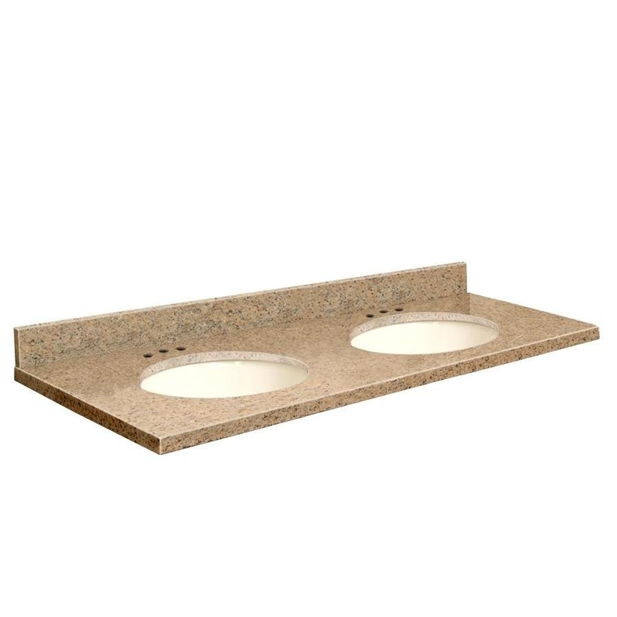 Transolid Giallo Veneziano Granite Undermount Double Sink Bathroom Vanity Top (Common: 61-in x 22-in; Actual: 61-in x 22.25-in)