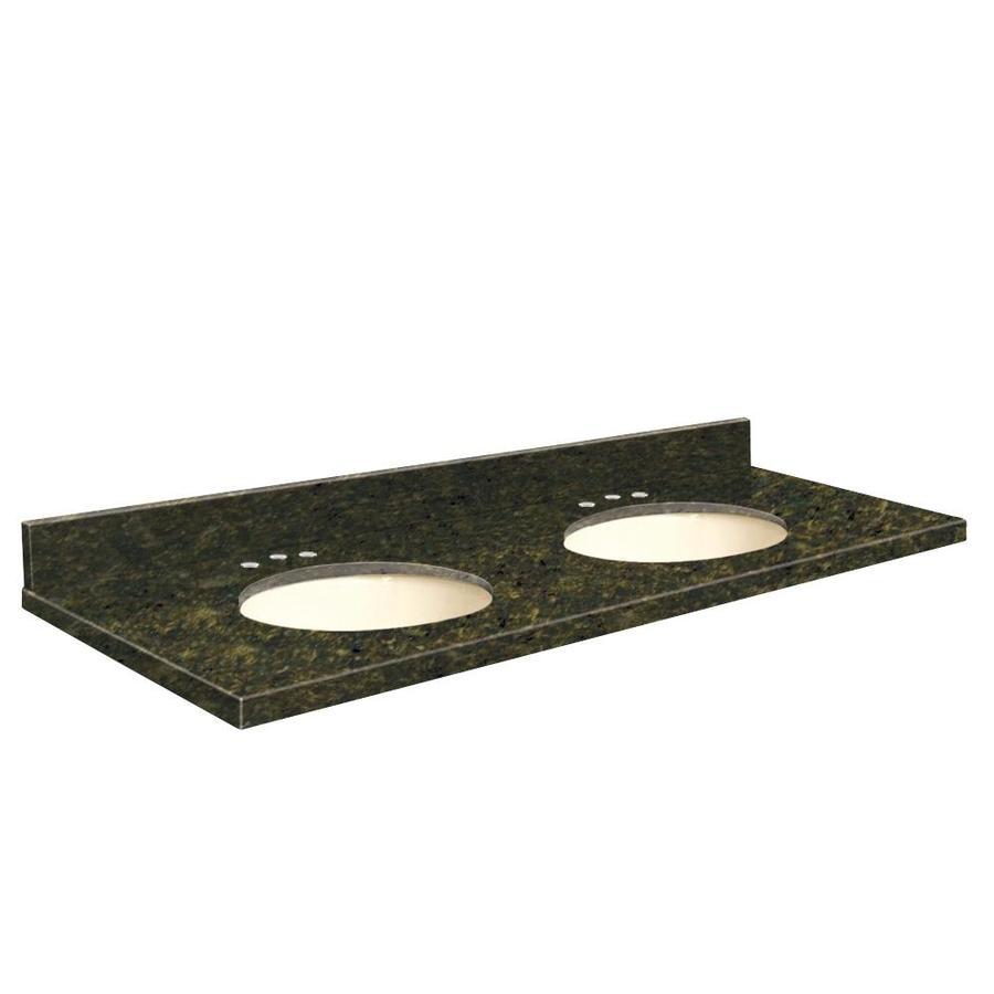 Transolid Uba Verde Granite Undermount Double Sink Bathroom Vanity Top (Common: 61-in x 22-in; Actual: 61-in x 22.25-in)