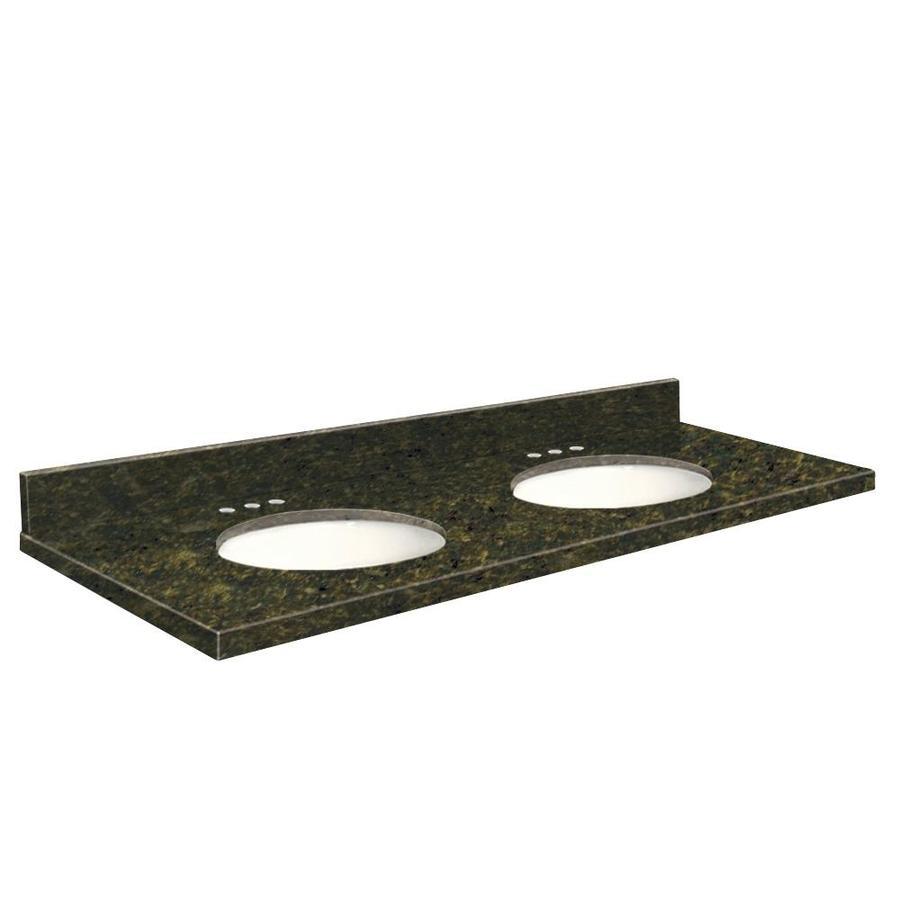 Transolid Uba Verde Granite Undermount Double Sink Bathroom Vanity Top (Common: 61-in x 22-in; Actual: 61-in x 22.2500-in)