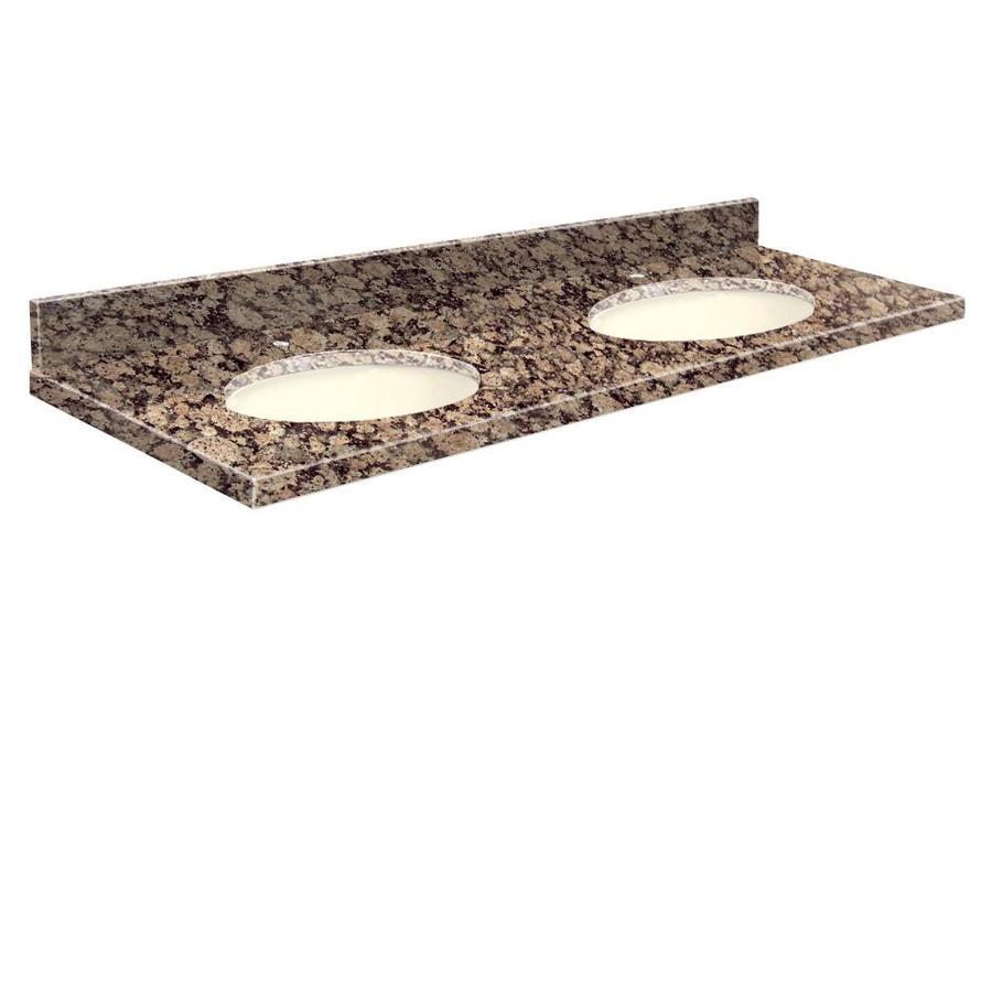 Transolid Baltic Brown Granite Undermount Double Sink Bathroom Vanity Top (Common: 61-in x 22-in; Actual: 61-in x 22.25-in)