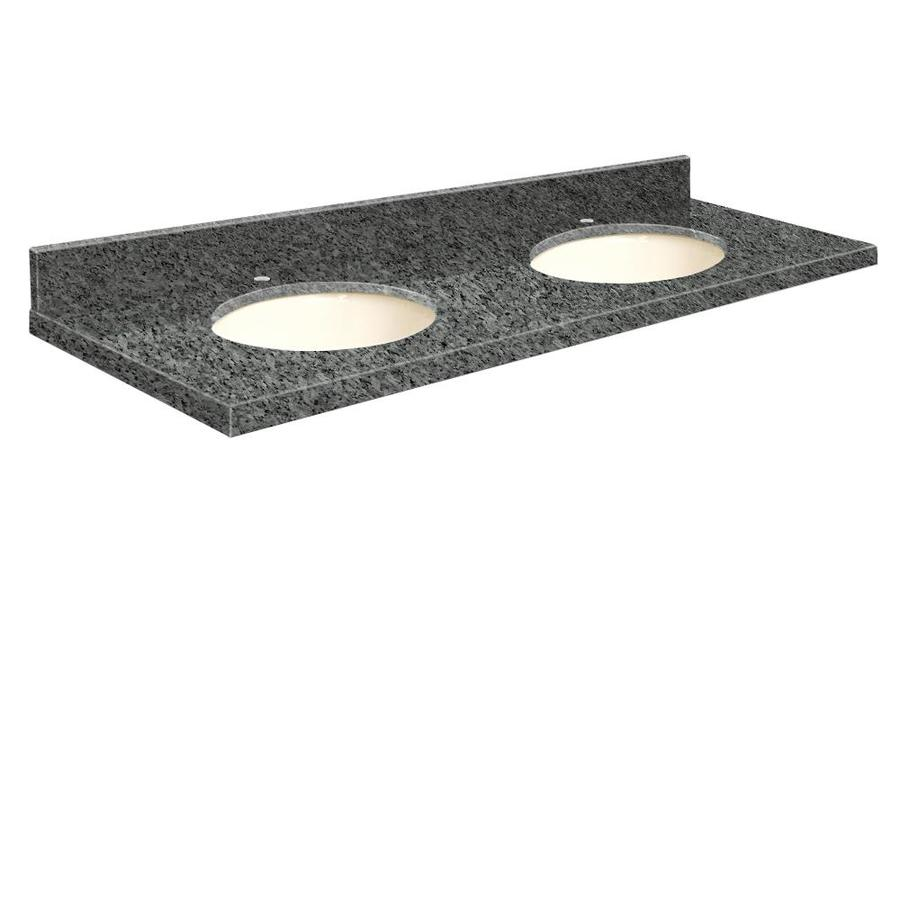 Shop Transolid Blue Pearl Granite Undermount Double Sink Bathroom Vanity Top Common 61 In X 22