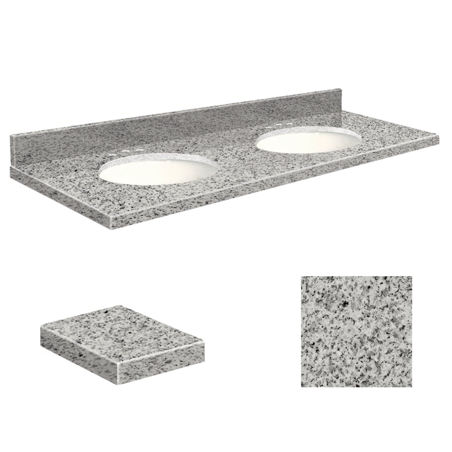 Transolid Rosselin White Granite Undermount Double Sink Bathroom Vanity Top (Common: 61-in x 22-in; Actual: 61-in x 22.25-in)