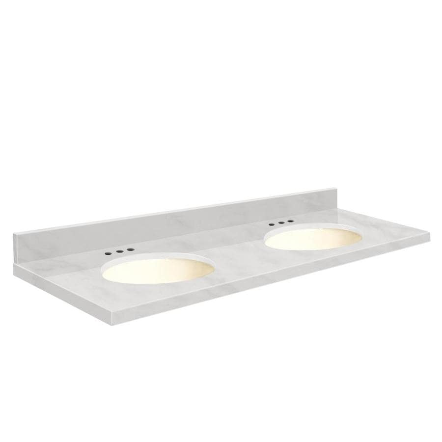 Transolid White Marble Natural Marble Undermount Double Sink Bathroom Vanity Top (Common: 61-in x 22-in; Actual: 61-in x 22.25-in)