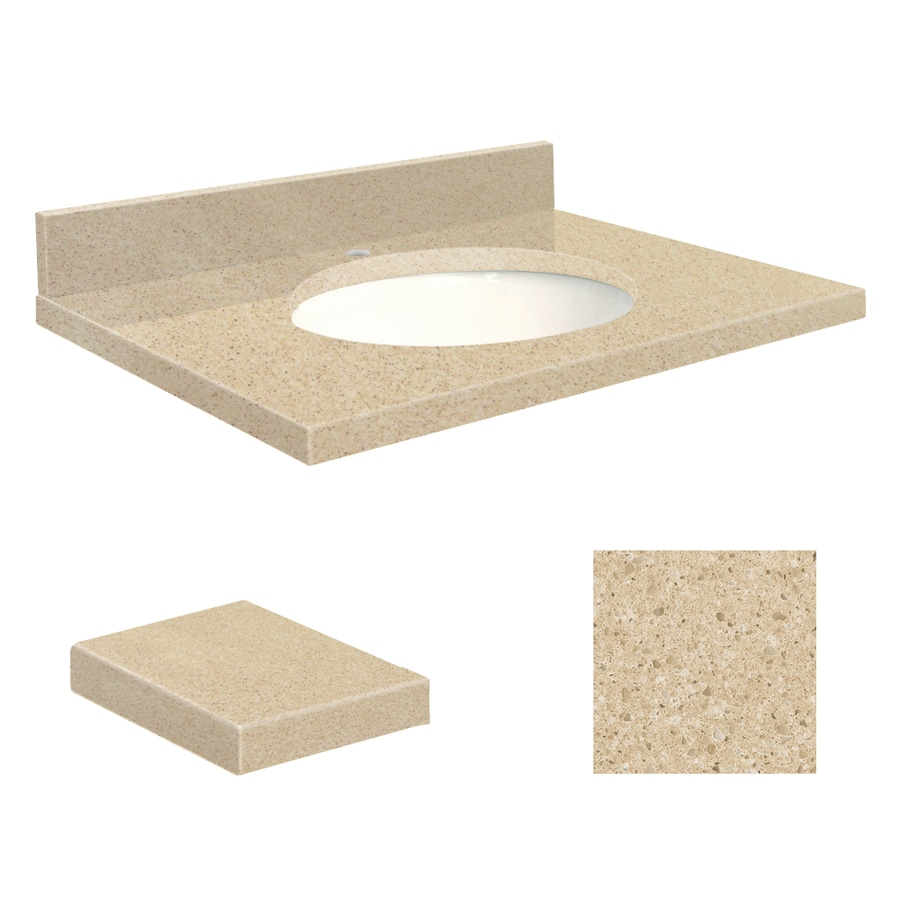 Transolid Durum Cream Quartz Undermount Single Sink Bathroom Vanity Top (Common: 25-in x 19-in; Actual: 25-in x 19.25-in)