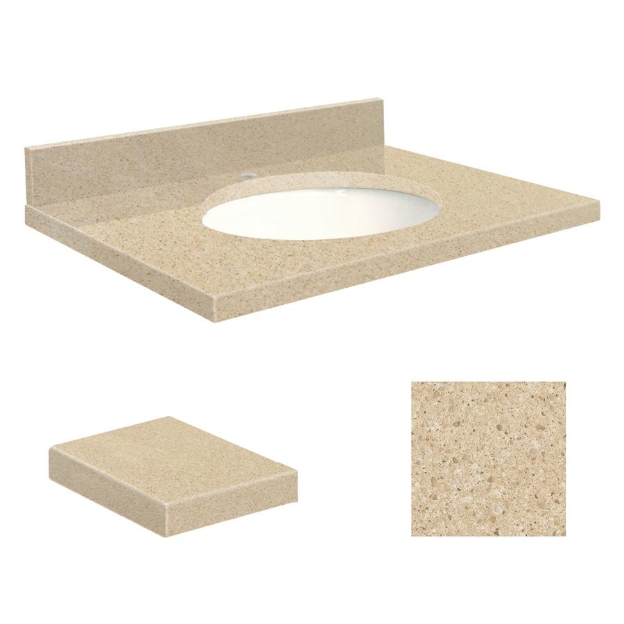 Transolid Durum Cream Quartz Undermount Single Sink Bathroom Vanity Top (Common: 25-in x 19-in; Actual: 25-in x 19.2500-in)