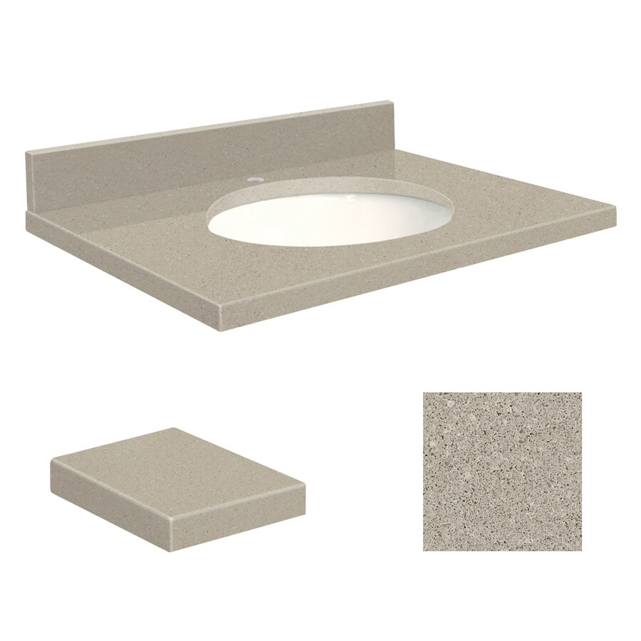 Transolid Olympia Gray Quartz Undermount Single Sink Bathroom Vanity Top (Common: 25-in x 19-in; Actual: 25-in x 19.25-in)