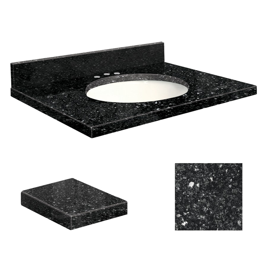 Transolid Notte Black Quartz Undermount Single Sink Bathroom Vanity Top (Common: 25-in x 19-in; Actual: 25-in x 19.25-in)