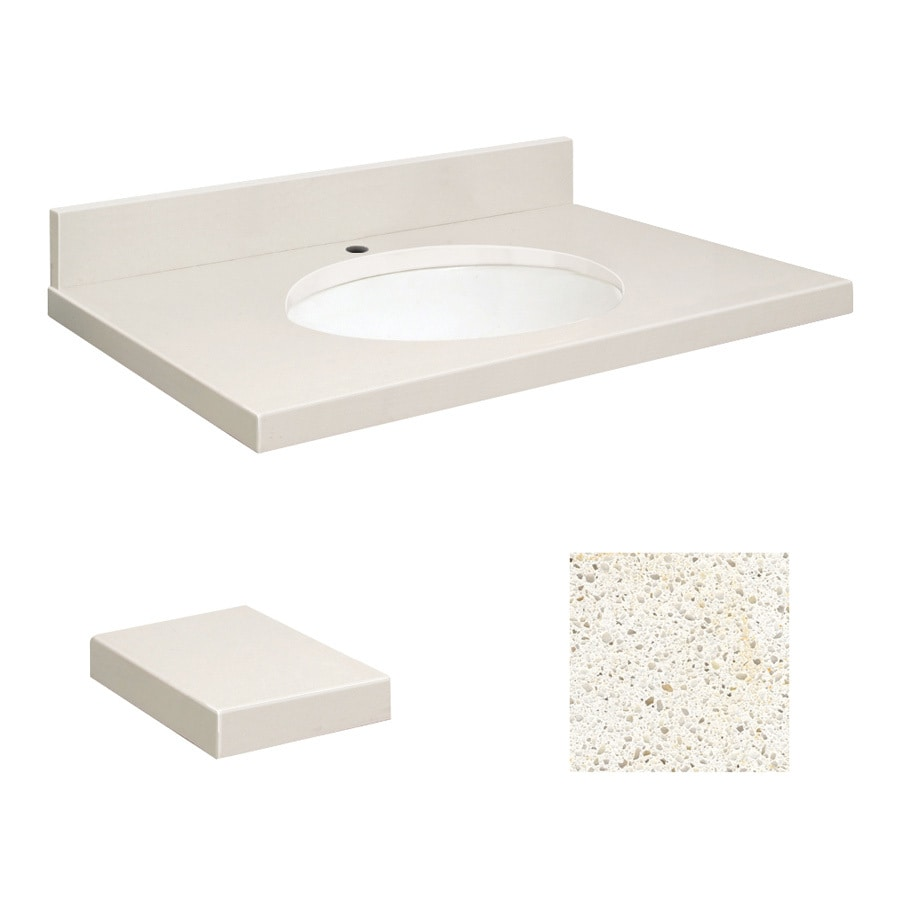 Transolid Milan White Quartz Undermount Single Sink Bathroom Vanity Top (Common: 25-in x 22-in; Actual: 25-in x 22.25-in)