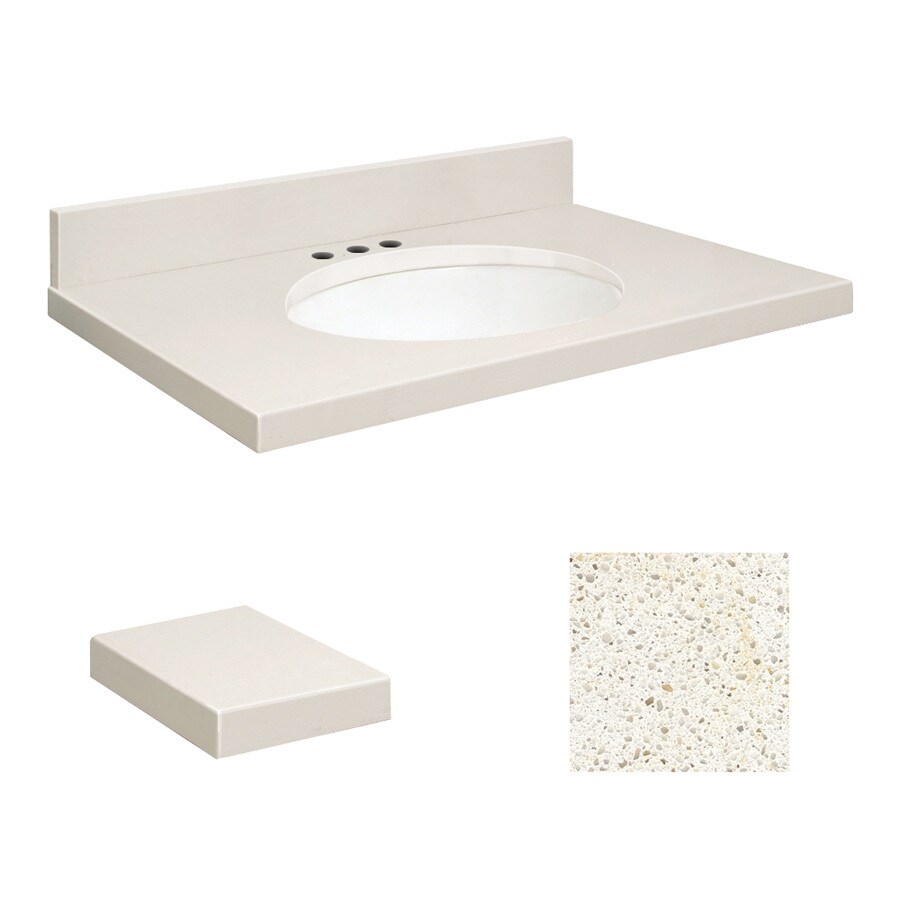 Transolid Milan White Quartz Undermount Single Sink Bathroom Vanity Top (Common: 25-in x 22-in; Actual: 25-in x 22.2500-in)