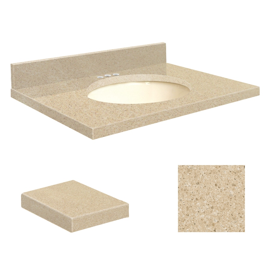 Transolid Durum Cream Quartz Undermount Single Sink Bathroom Vanity Top (Common: 31-in x 22-in; Actual: 31-in x 22-in)