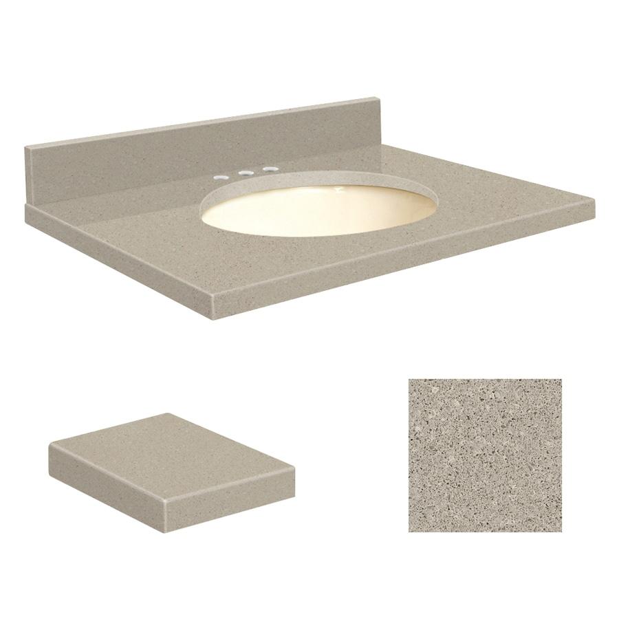 Transolid Olympia Gray Quartz Undermount Single Sink Bathroom Vanity Top (Common: 31-in x 22-in; Actual: 31-in x 22-in)