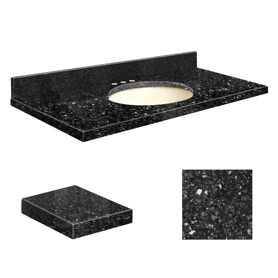 Transolid Notte Black Quartz Undermount Single Sink Bathroom Vanity Top (Common: 37-in x 19-in; Actual: 37-in x 19-in)