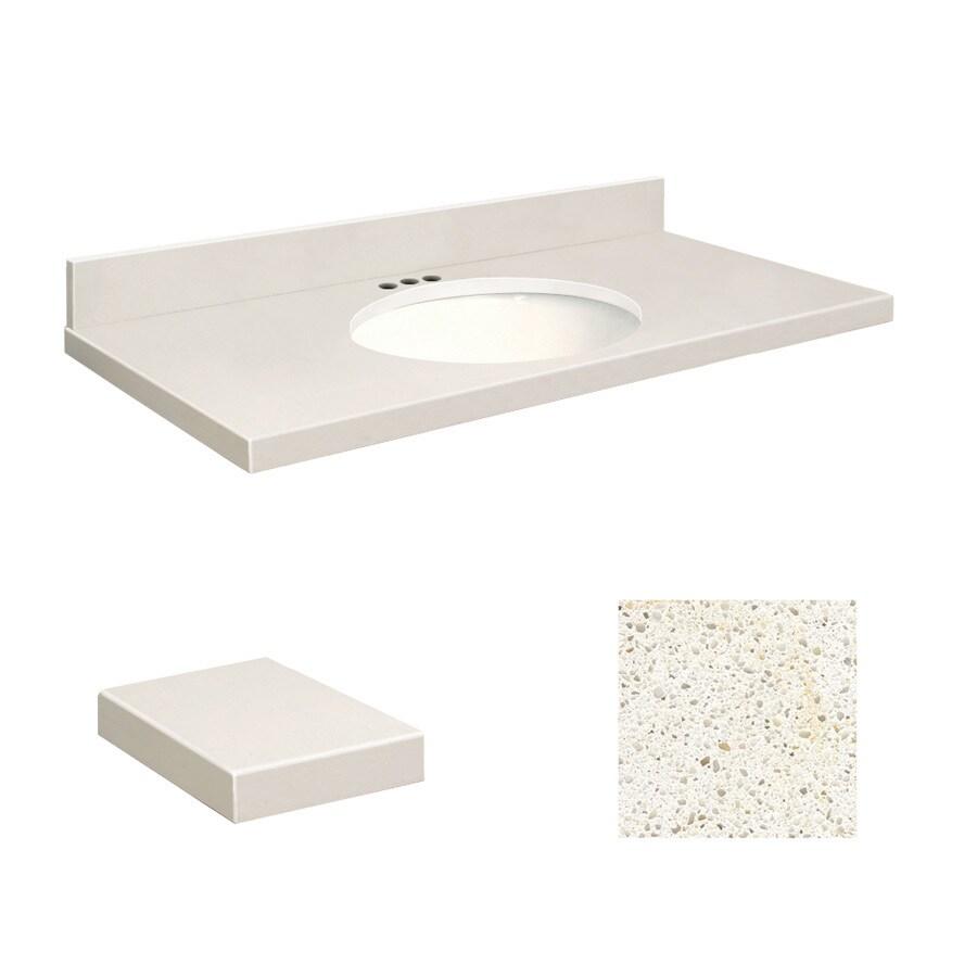 Transolid Milan White Quartz Undermount Single Sink Bathroom Vanity Top (Common: 37-in x 22-in; Actual: 37-in x 22-in)