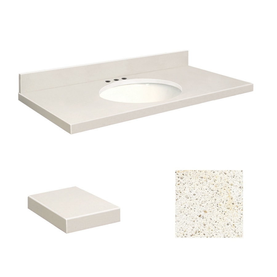 Transolid Milan White Quartz Undermount Single Sink Bathroom Vanity Top (Common: 37-in x 22-in; Actual: 37-in x 22-in)