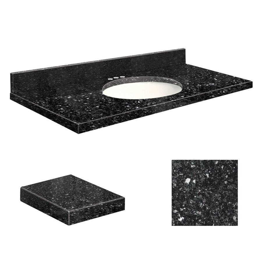 Transolid Notte Black Quartz Undermount Single Sink Bathroom Vanity Top (Common: 43-in x 22-in; Actual: 43-in x 22-in)