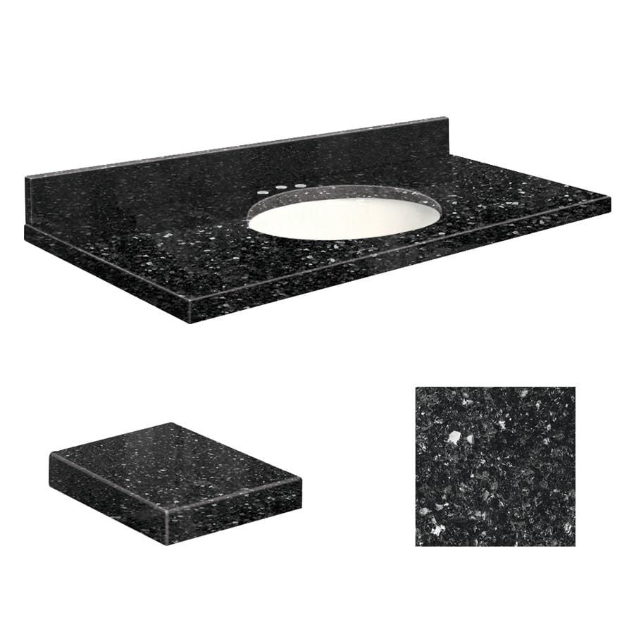 Transolid Notte Black Quartz Undermount Single Sink Bathroom Vanity Top (Common: 43-in x 22-in; Actual: 43-in x 22-in)