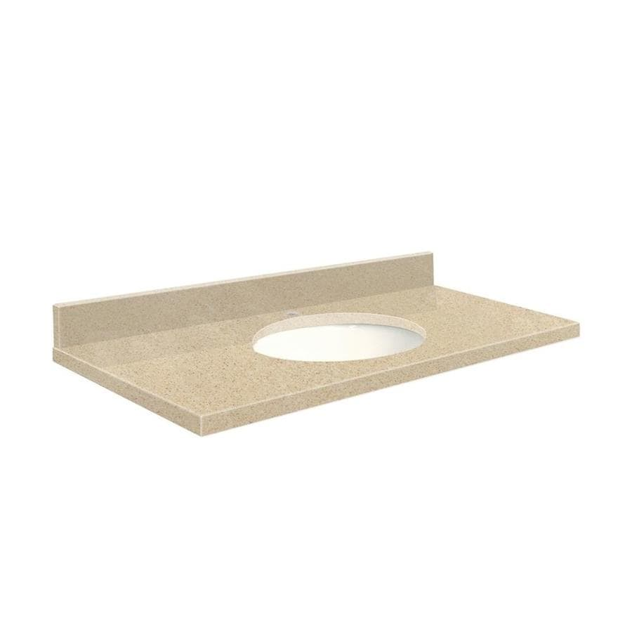 Transolid Durum Cream Quartz Undermount Single Sink Bathroom Vanity Top (Common: 49-in x 22-in; Actual: 49-in x 22-in)