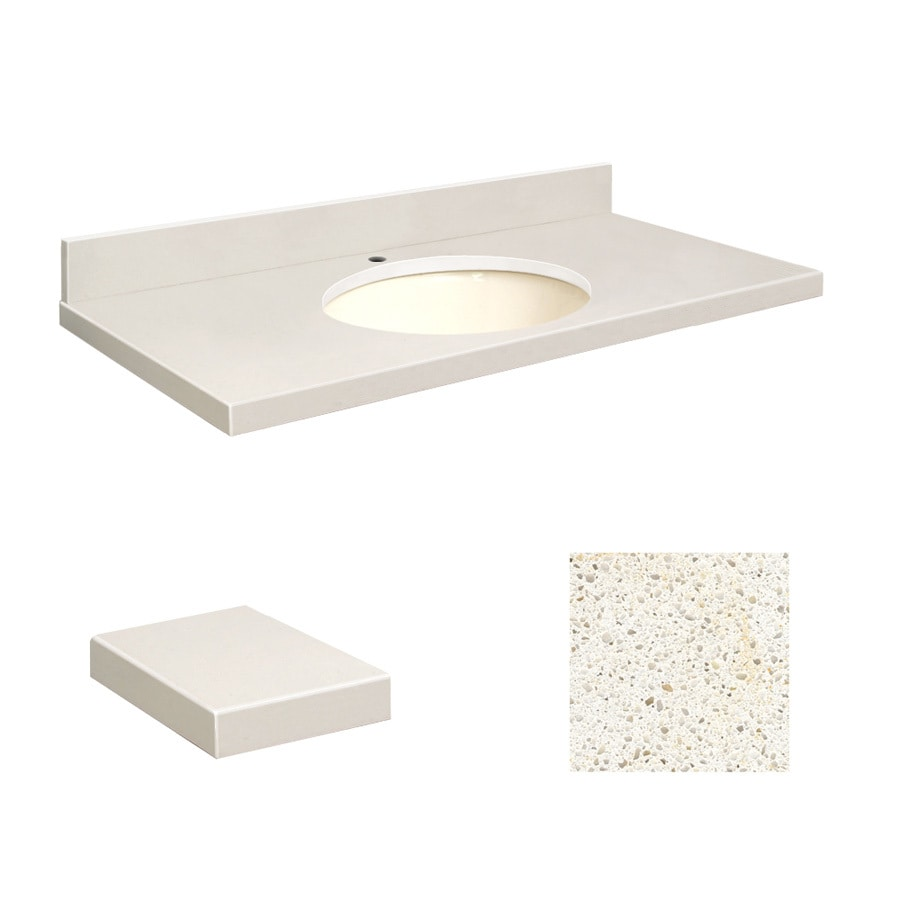 Transolid Milan White Quartz Undermount Single Sink Bathroom Vanity Top (Common: 49-in x 22-in; Actual: 49-in x 22-in)