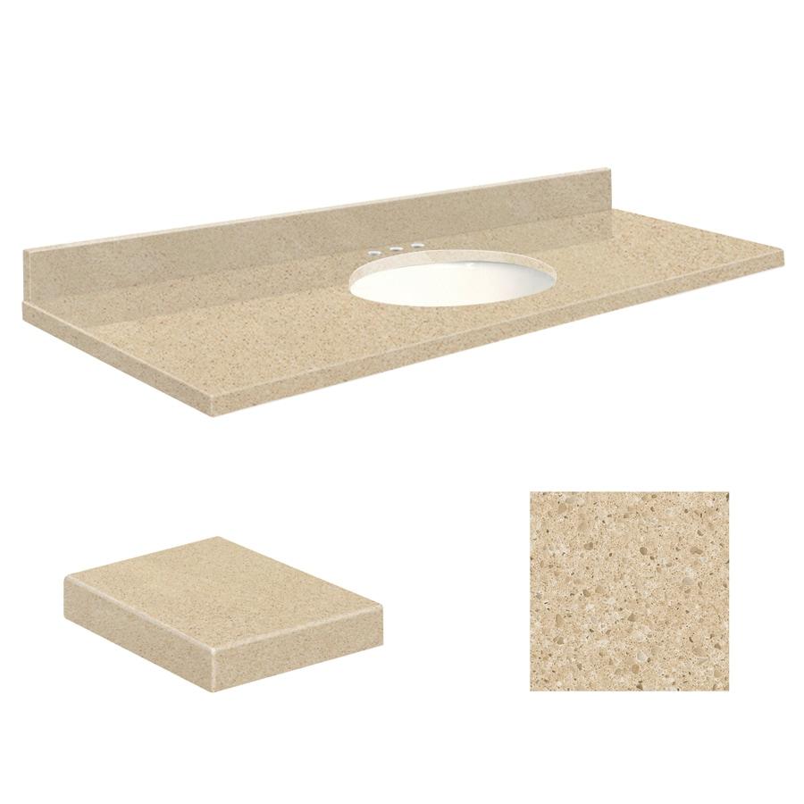 Transolid Durum Cream Quartz Undermount Single Sink Bathroom Vanity Top (Common: 61-in x 22-in; Actual: 61-in x 22-in)