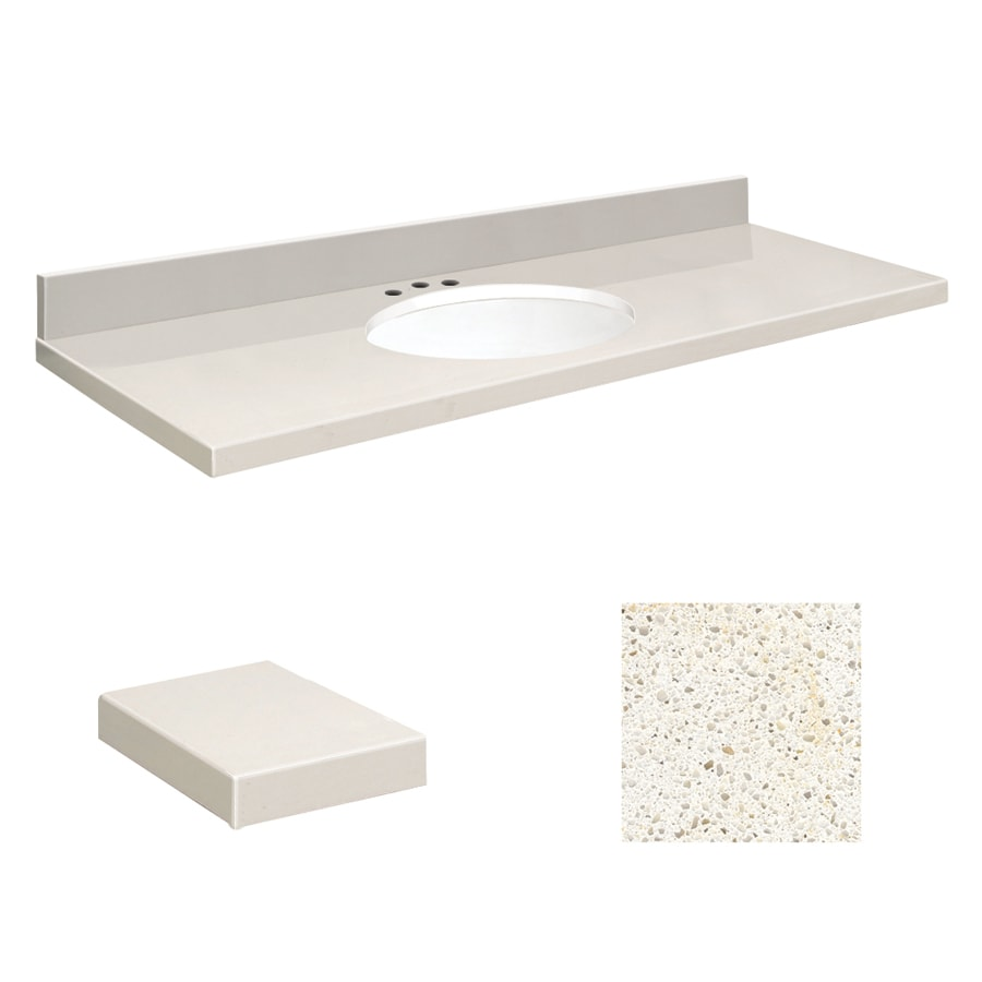 Transolid Milan White Quartz Undermount Single Sink Bathroom Vanity Top  (Common: 61 In