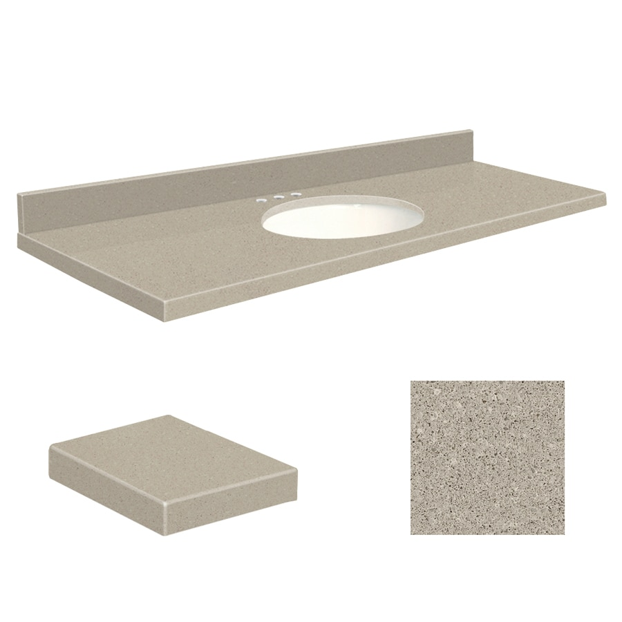Transolid Olympia Gray Quartz Undermount Single Sink Bathroom Vanity Top (Common: 61-in x 22-in; Actual: 61-in x 22-in)