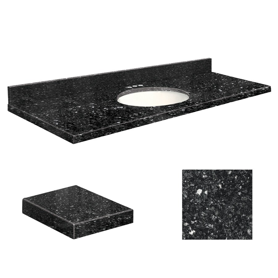 Transolid Notte Black Quartz Undermount Single Sink Bathroom Vanity Top (Common: 61-in x 22-in; Actual: 61-in x 22-in)