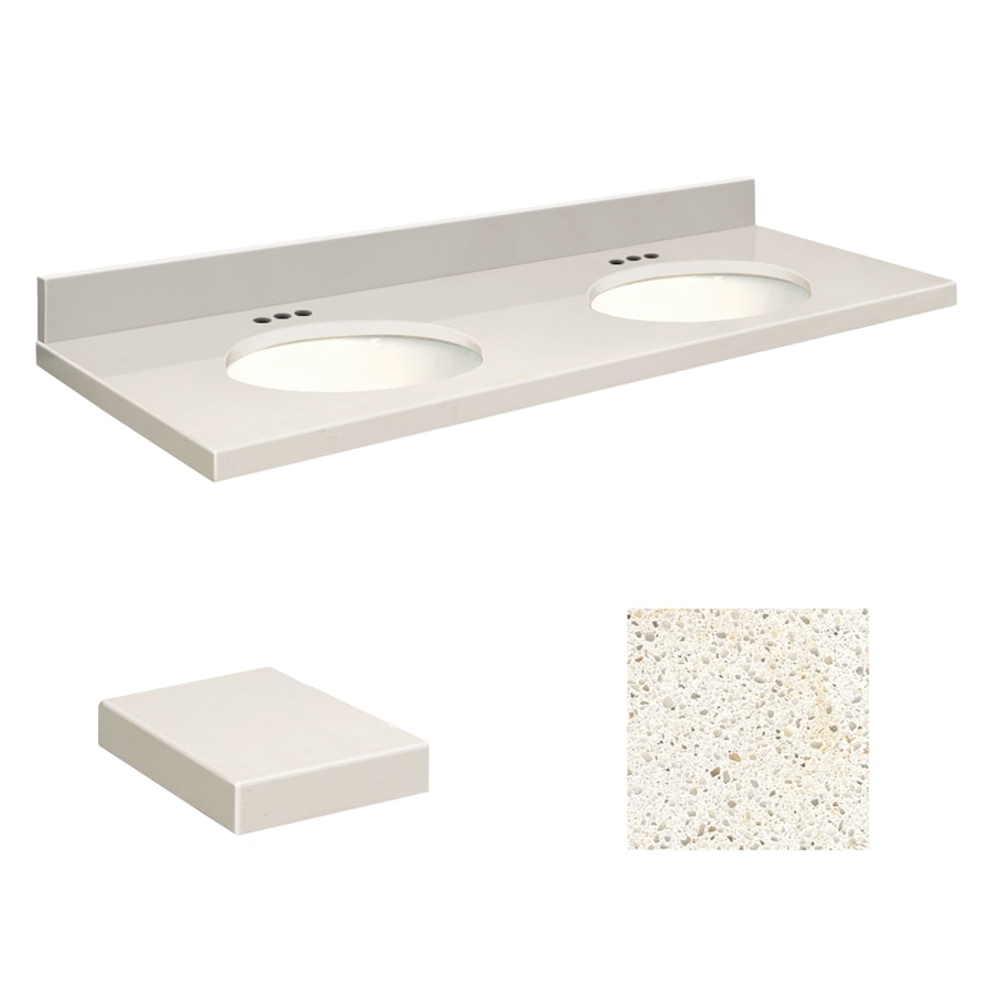 Transolid Milan White Quartz Undermount Double Sink Bathroom Vanity Top (Common: 61-in x 22-in; Actual: 61-in x 22-in)