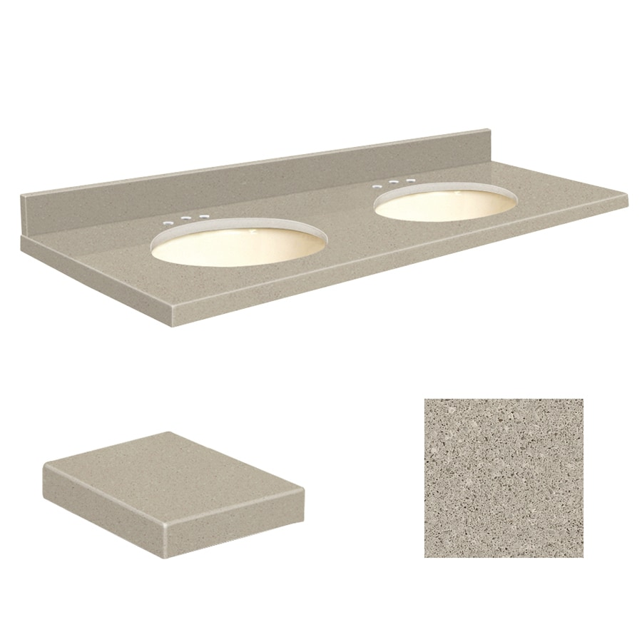 Transolid Olympia Gray Quartz Undermount Double Sink Bathroom Vanity Top (Common: 61-in x 22-in; Actual: 61-in x 22-in)