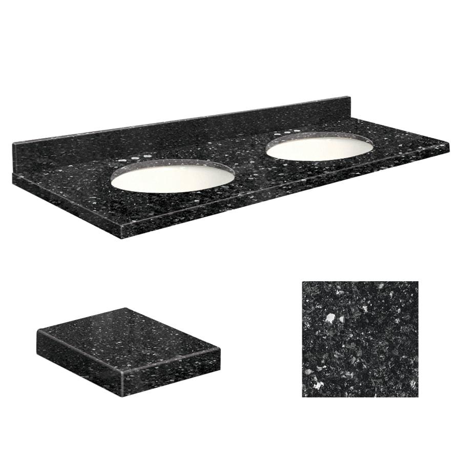 Transolid Notte Black Quartz Undermount Double Sink Bathroom Vanity Top (Common: 61-in x 22-in; Actual: 61-in x 22-in)