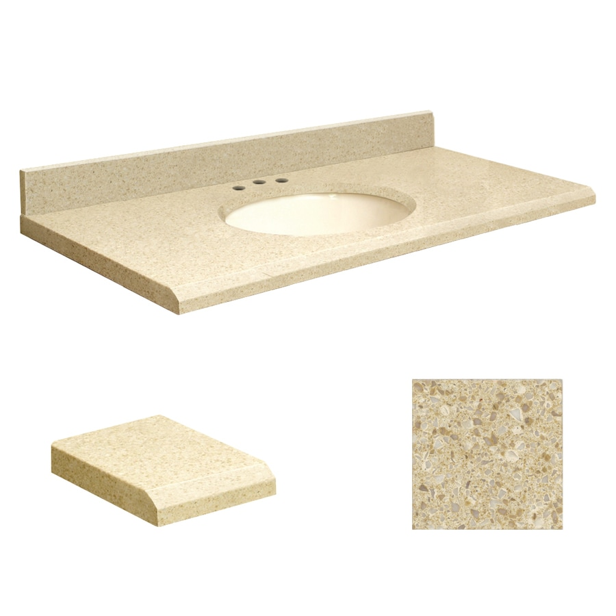 Transolid Nature's Path Quartz Undermount Single Sink Bathroom Vanity Top (Common: 37-in x 19-in; Actual: 37-in x 19-in)