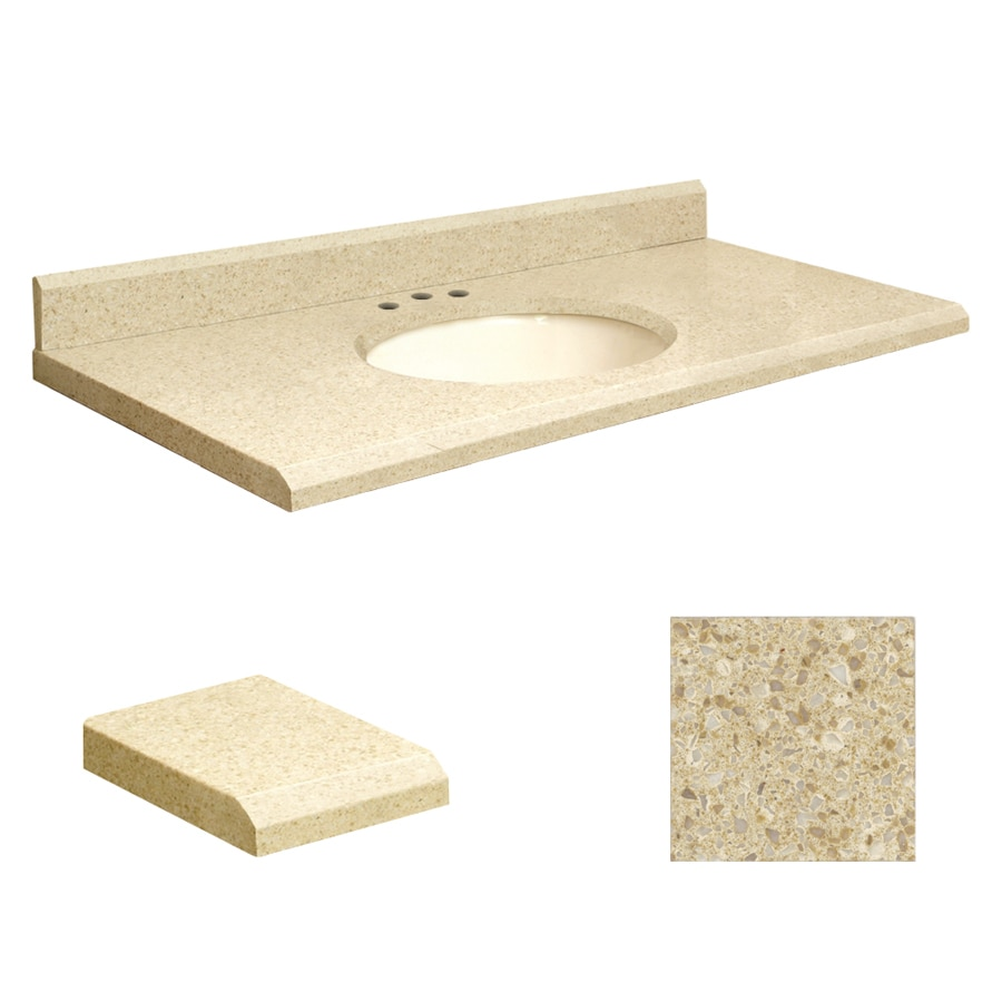Transolid Nature's Path Quartz Undermount Single Sink Bathroom Vanity Top (Common: 43-in x 22-in; Actual: 43-in x 22-in)