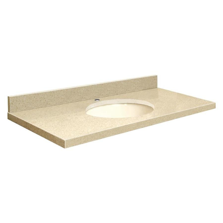Shop transolid nature 39 s path quartz undermount single sink for Bathroom quartz vanity tops