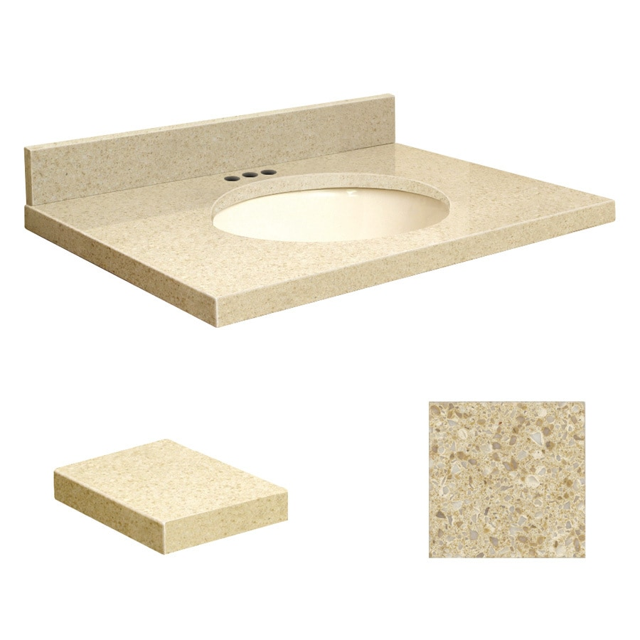 Transolid Nature's Path Quartz Undermount Single Sink Bathroom Vanity Top (Common: 31-in x 22-in; Actual: 31-in x 22-in)